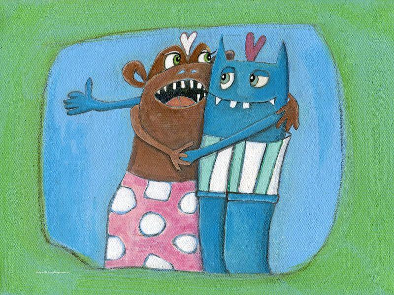 Verliefde Monstertje - Schilderij voor Kinderen van Atelier BuntePunkt