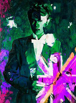Motiv Porträt - David Bowie - Union Jacks - The Duke - Gift Green van Felix von Altersheim
