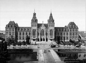 Rijksmuseum Amsterdam - vintage zwart-wit foto gezien vanaf de Stadhouderskade van