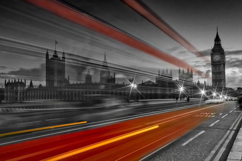 Westminster Bridge & Red Bus van Melanie Viola