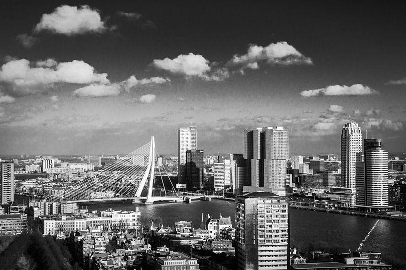 B&W Skyline of Rotterdam van Aiji Kley