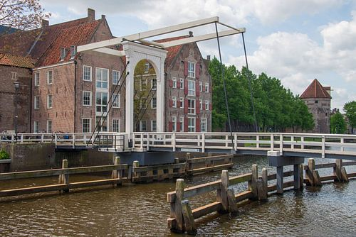 Bridge crossing city canal in Zwolle