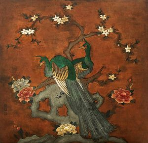 Schilderij voorstelling met pauwen geschilderd op leer van Liesbeth Govers voor omdewest.com
