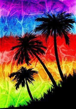 Regenbogen Palmen Schatten von ZeichenbloQ