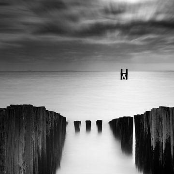 Gelassene schwarz-weiße Küstenlandschaft von Cathy Roels