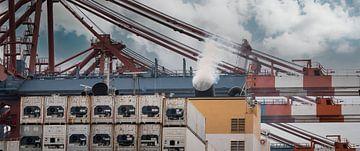 Flèche d'une grue portique à conteneurs dans le port sur Jonas Weinitschke