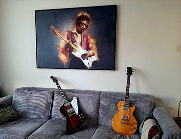 Klantfoto: Jimi Hendrix schilderij olieverf portret van Bert Hooijer
