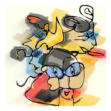 Tekening fantasie figuren nr.1 digitaal gemaakt van Marianne van der Zee