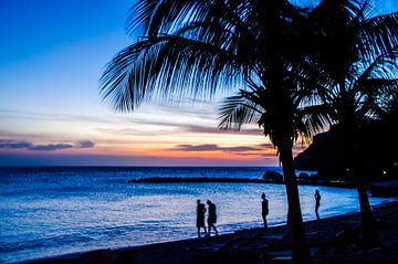 Silhouettes bij de zonsondergang in Curacao van Joke Van Eeghem