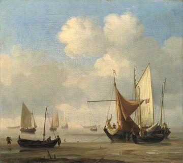 Kleine Nederlandse schepen aan de grond bij Laagwater in een rustige omgeving, Willem van de Velde