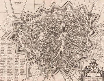 Karte der Stadt Groningen, unbekannt