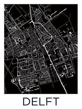 Delft   Stadtplan Schwarz-Weiß von - Wereldkaarten.shop -