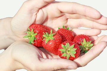 Een handvol rijpe mooie rode aardbeien van Henk van den Brink