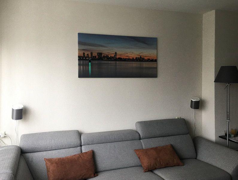 Photo de nos clients: La ligne d'horizon de Rotterdam au coucher du soleil sur MS Fotografie | Marc van der Stelt, sur toile