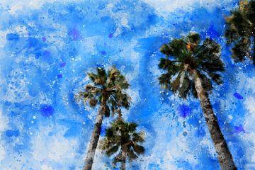 Palmbomen in de lucht van Claudia Evans