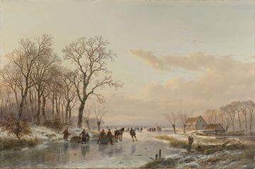 Zugefrorener Kanal in der Nähe von der Maas - Andreas Schelfhout