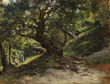 Carlos de Haes-Beech forest Oude boom, boslandschap, Antiek landschap