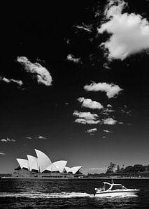 zwart wit uitzicht op Sydney Opera House