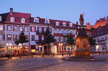 Maïsmarkt in de schemering, oude stad, Heidelberg, oude stad, Heidelberg van Torsten Krüger