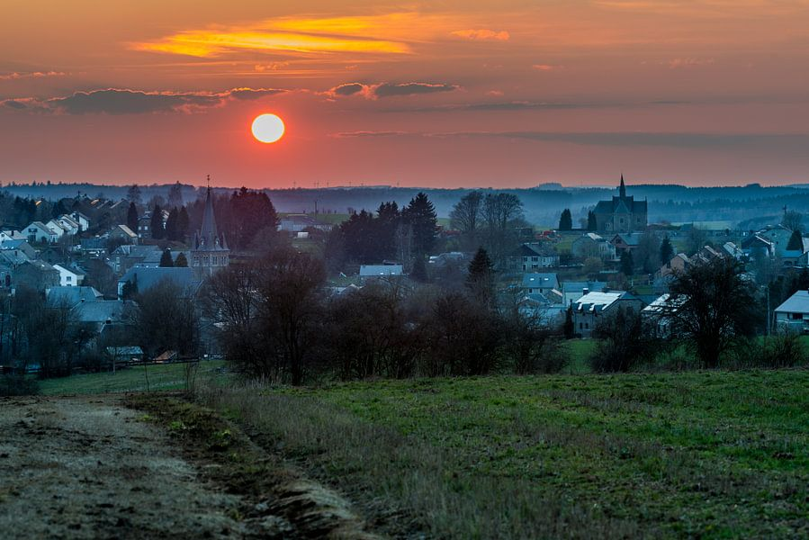 Zonsondergang Belgische Ardennen
