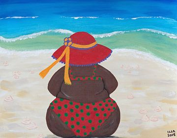 Dikke dame aan het strand van Ilia Berends