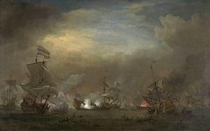 VOC Zeeslag schilderij: Cornelis Tromp op het schip de 'Gouden Leeuw'  van