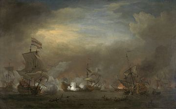 VOC Seeschlacht Gemälde: Cornelis Tromp auf dem Schiff 'Goldener Löwe' von Schilderijen Nu