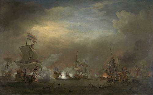 VOC Zeeslag schilderij: Cornelis Tromp op het schip de 'Gouden Leeuw'  van Schilderijen Nu