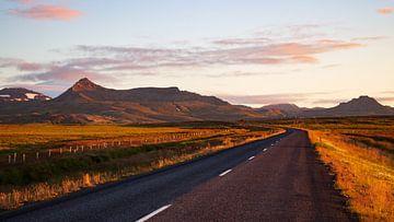 Isländische Straße entlang der Berge von Summer van Beek