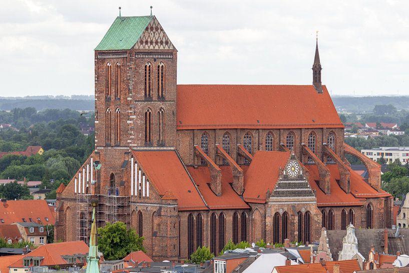 Luftaufnahme von der St.Nikolai Kirche in der Hansestadt Wismar von Reiner Conrad