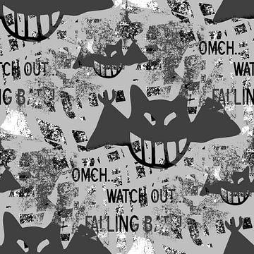 Falling bats Grunge Black&White van