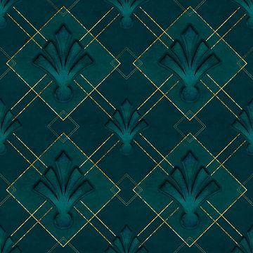 Art Deco Eleganz Grün Gold von Andrea Haase