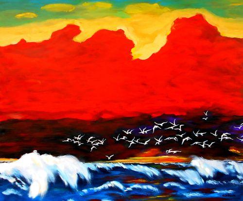 Vogelschwarm vor aufziehender Wolkenwand von