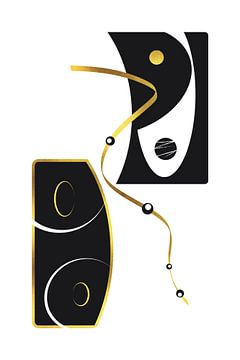 Zwart-wit abstracte samenvatting nr. 2 | goud van Melanie Viola
