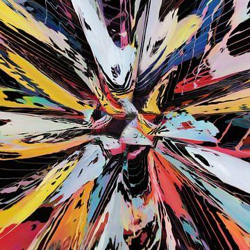 Abstract in rood blauw geel van Maurice Dawson