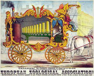 Oude poster van een stoommachine getrokken door een paard uit 1874