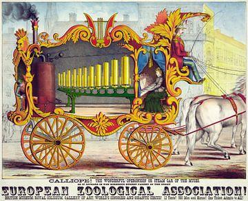 Oude poster van een stoommachine getrokken door een paard uit 1874 van