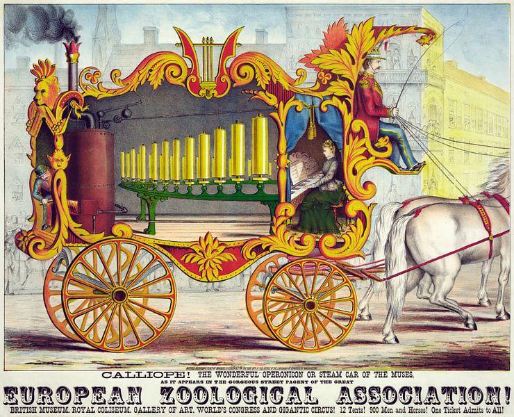 Oude poster van een stoommachine getrokken door een paard uit 1874 van Natasja Tollenaar
