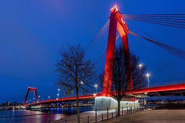 Willemsbrug - Blauwe Uur - Rotterdam van Fotografie Ploeg