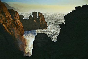 Ölgemälde mit Tuschelinien - Landschaft - Meer - Küste - Berge - Klippen - Horizont - Kunstwerk von Dirk van der Ven