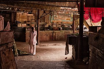 Oude markt in India van Vincent van Kooten