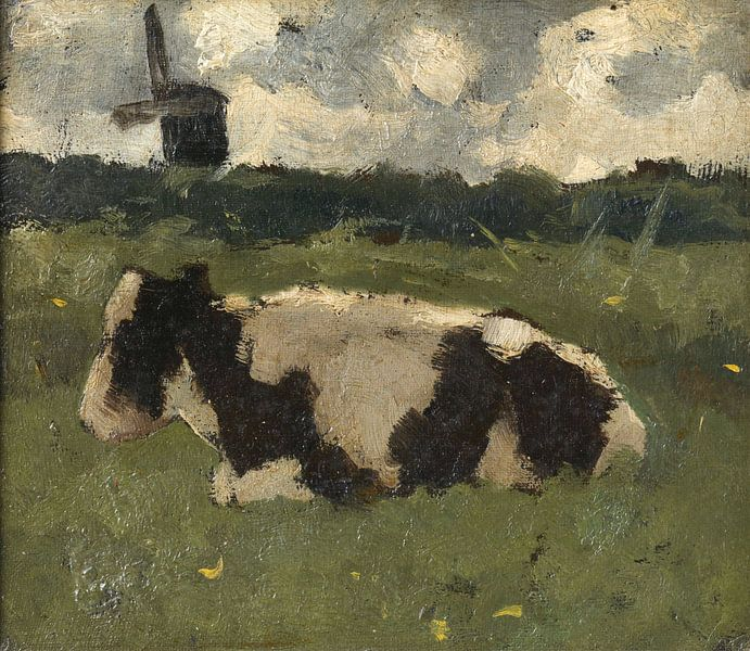 Liegende Kuh mit Mühle, Richard Nicolaüs Roland Holst von Marieke de Koning