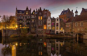 Historisch Delfshaven, Rotterdam met zonsopkomst van