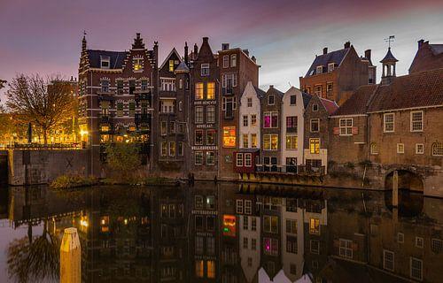 Historisch Delfshaven, Rotterdam met zonsopkomst