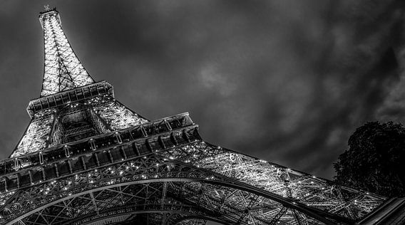 Eiffel tower   Detail shot at night  Paris   Black & White   Fine Art Photography