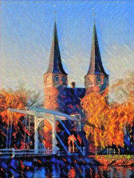Sfeervol Schilderij Oostpoort Delft