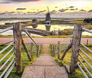 Molen en zonsondergang op Texel / Windmill and sunset on Texel von Justin Sinner Pictures ( Fotograaf op Texel)