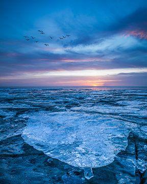 Harlingen, strand - Kruiend ijs