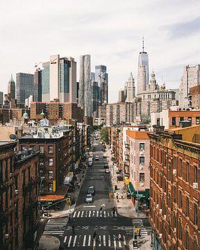 Chinatown mit Lower Manhattan im Hintergrund von Michiel Dros