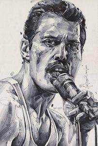 Freddie Mercury (Queen) tekening van Jos Hoppenbrouwers